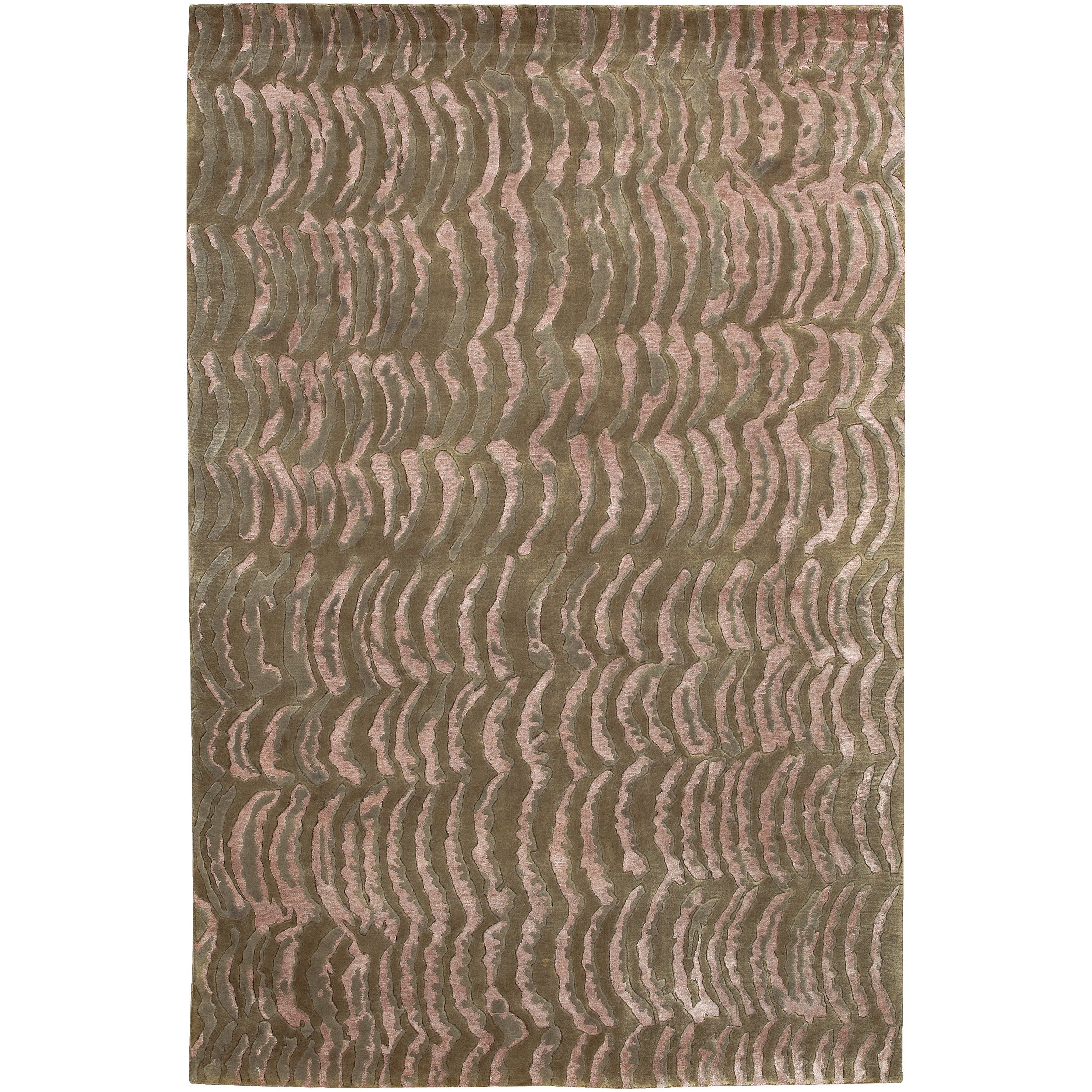 Rose/Moss Hand-Knotted Multicolored Vilas Abstract Design Wool Rug (4' x 6')