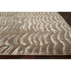 Rose/Moss Hand-Knotted Multicolored Vilas Abstract Design Wool Rug (4' x 6') - Thumbnail 1