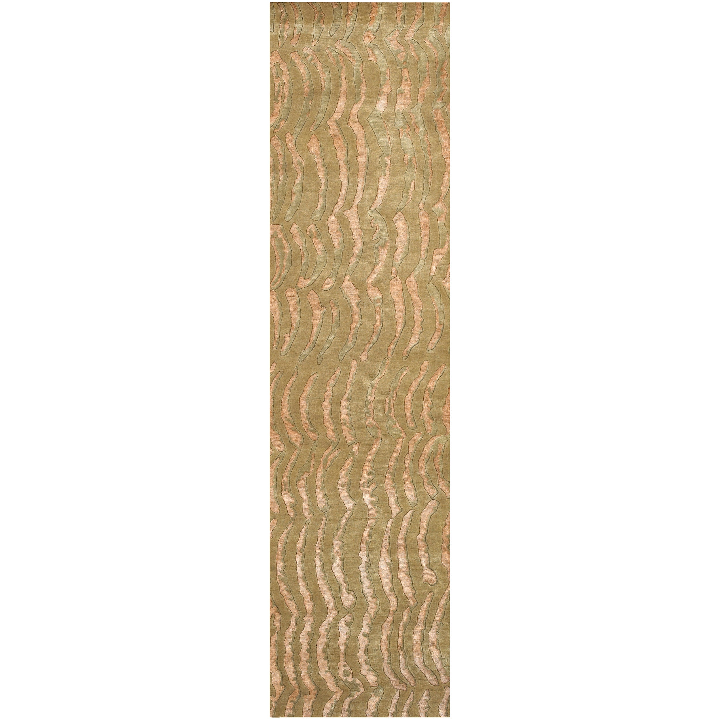 Hand-knotted Multicolored Vilas Abstract Design Semi-Worsted Wool Rug (2 '6 x 10')