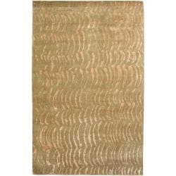 Beige/Moss Hand-Knotted Multicolored Vilas Abstract Design Wool Rug (4' x 6')