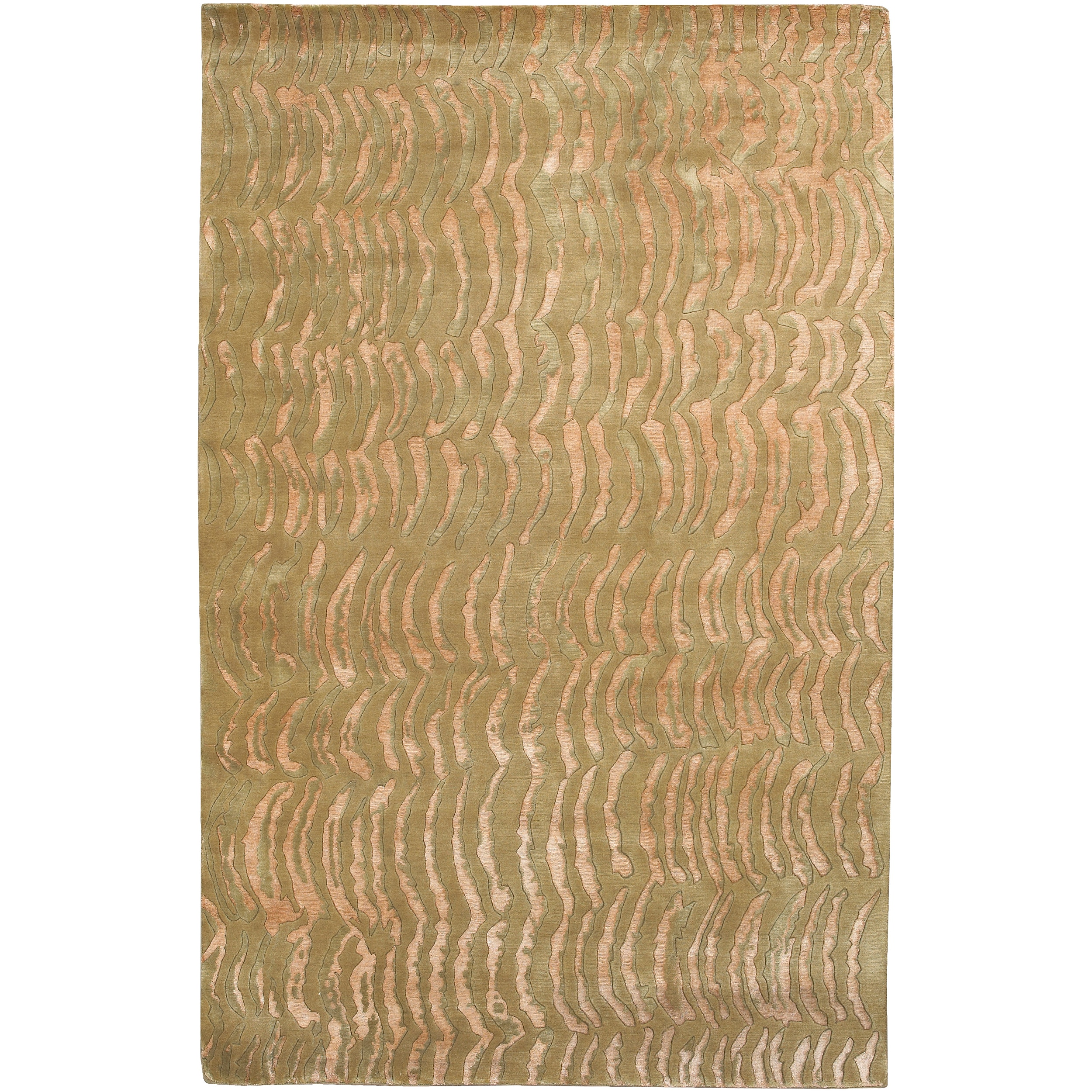 Hand-Knotted Multicolored Vilas Abstract-Design RecBeigegular Wool Rug (5' x 8')
