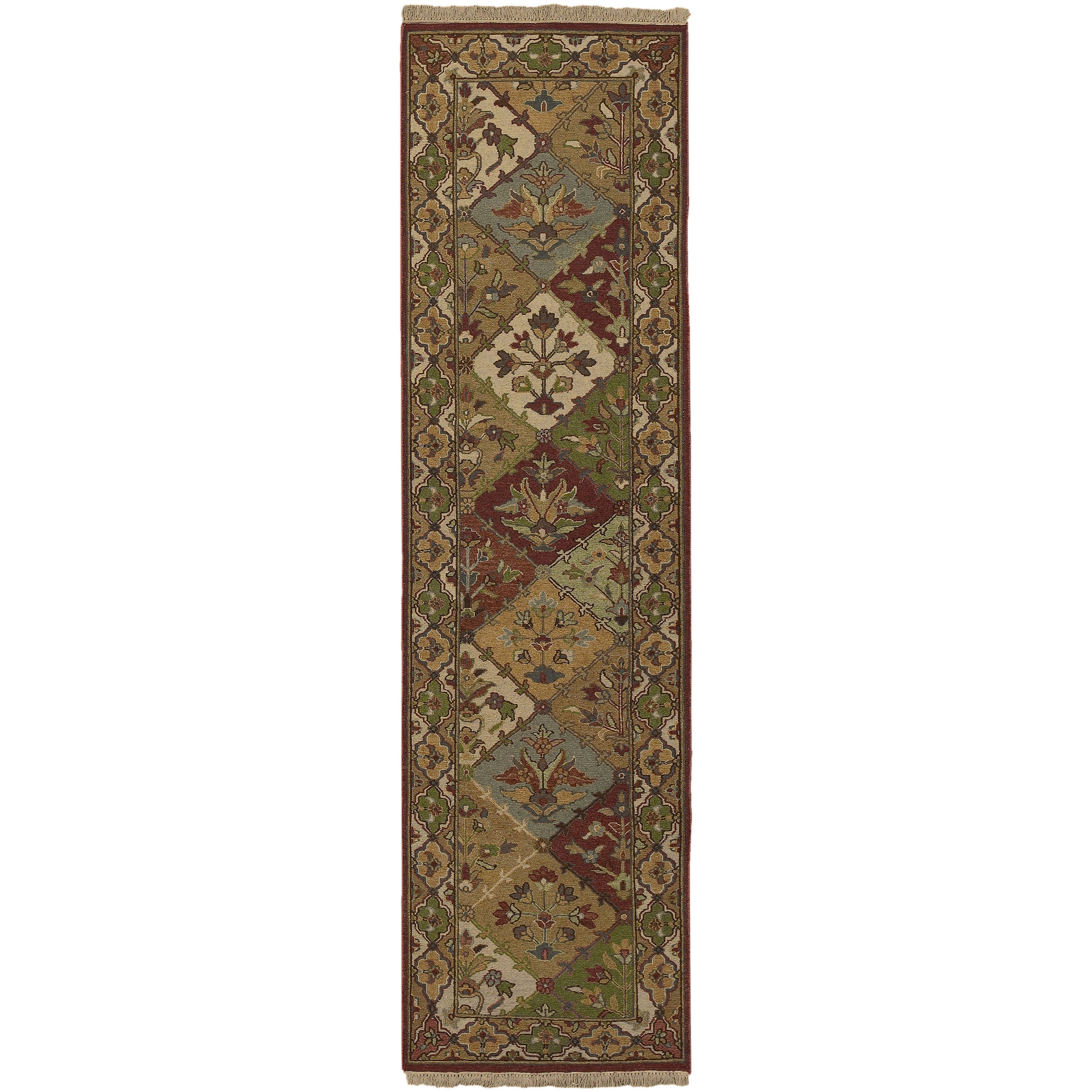 Hand-knotted Multicolored Bristol Semi-Worsted New Zealand Wool Rug (4' x 10')