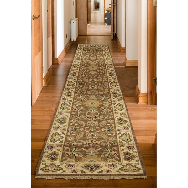 Hand-Knotted Multicolored Bristol Semi-Worsted New Zealand Wool Border Rug (4' x 10')