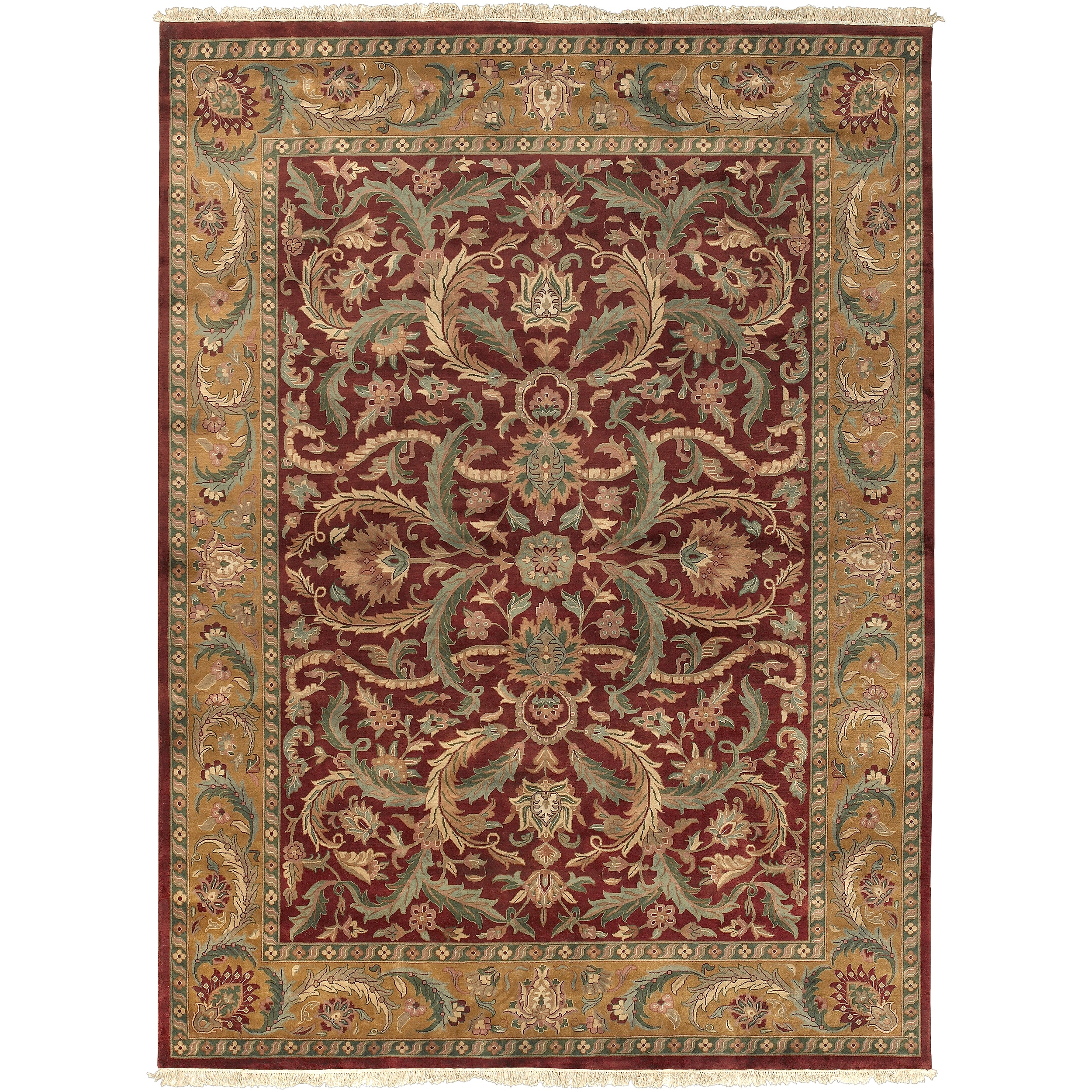 Hand-knotted Multicolor Burgundy Borough Semi-Worsted New Zealand Wool Rug (8'6 x 11'6)
