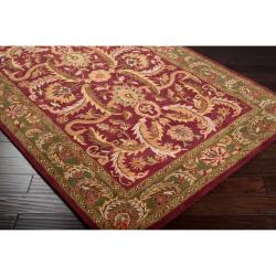 Hand-knotted Multicolor Burgundy Borough Semi-Worsted New Zealand Wool Rug (8'6 x 11'6) - Thumbnail 1