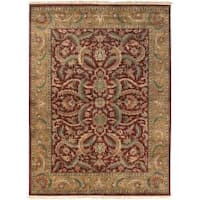 Hand-knotted Multicolor Burgundy Borough Semi-Worsted New Zealand Wool Area Rug - 8'6 x 11'6