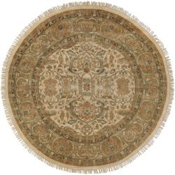 Hand-Knotted Multicolored Borough Semi-Worsted Indoor New Zealand Wool Rug (8' Round)