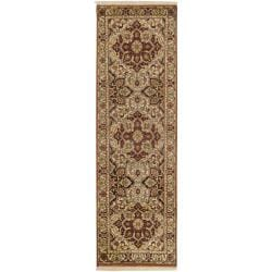Hand-knotted Multicolor Burgundy Borough Semi-Worsted New Zealand Wool Rug (2'6 x 8')