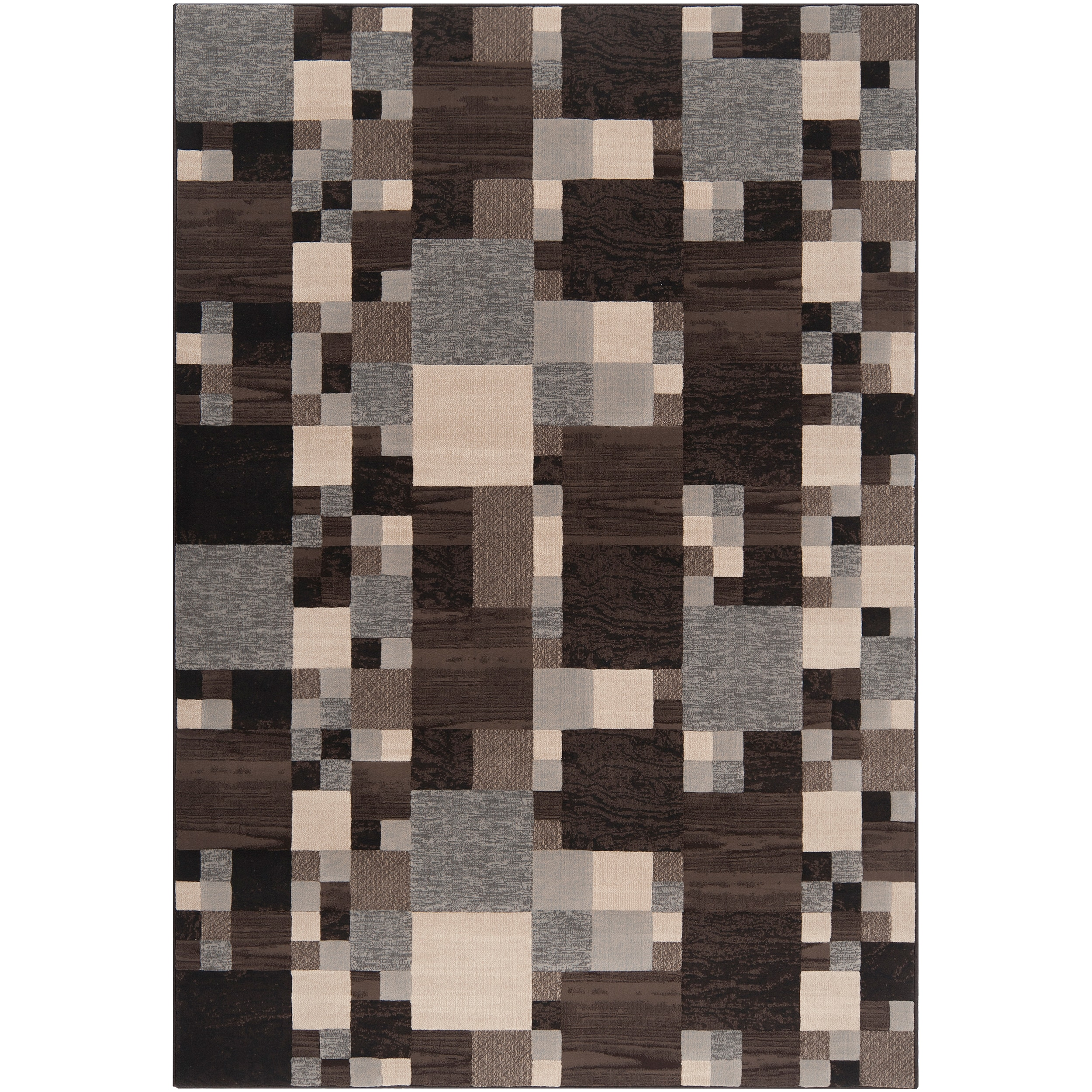 Woven Neutral Toned Haines Geometric Squares Rug (1'10 x 2'11)