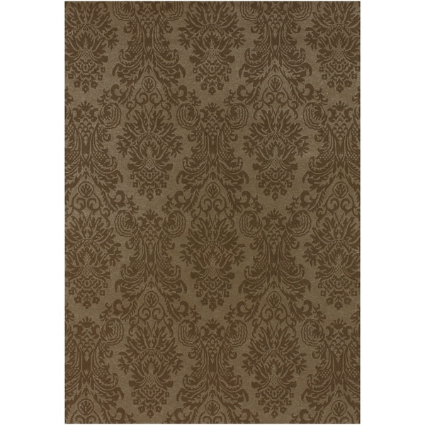 Hand-knotted Brown Haines New Zealand Wool Area Rug - 9' x 13'