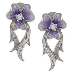 La Preciosa Sterling Silver Purple and White Enamel Flower Earrings