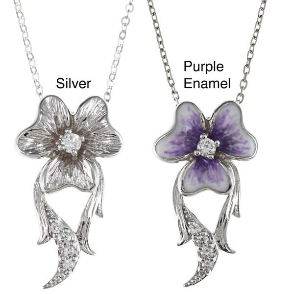 La Preciosa Sterling Silver CZ Flower Pendant