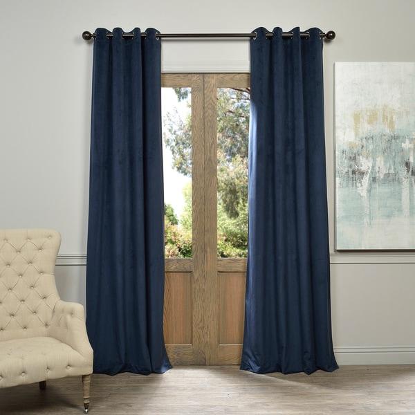 Exclusive Fabrics Midnight Blue Grommet Velvet Blackout Single Curtain Panel