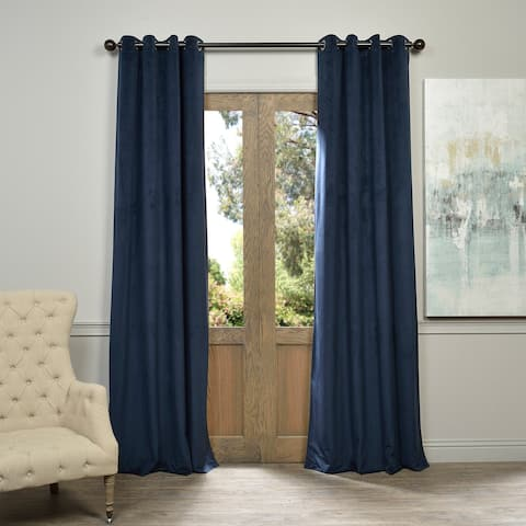 Exclusive Fabrics Midnight Blue Grommet Velvet Blackout Single Curtain Panel
