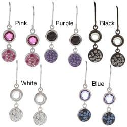 La Preciosa Sterling Silver Crystal and CZ Circle Earrings
