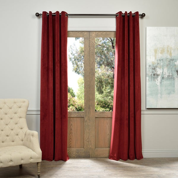 EFF Burgundy Grommet Velvet Blackout Curtain Panel