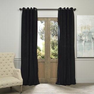 Exclusive Fabrics Warm Black Grommet Velvet Blackout Curtain Panel