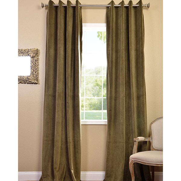 Exclusive Fabrics Hunter Green Grommet Velvet Blackout Curtain Panel