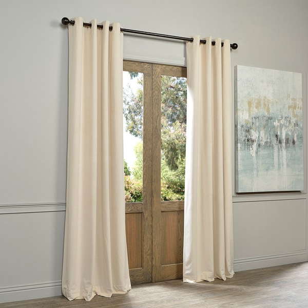 Exclusive Fabrics Ivory Grommet Velvet Blackout Curtain Panel