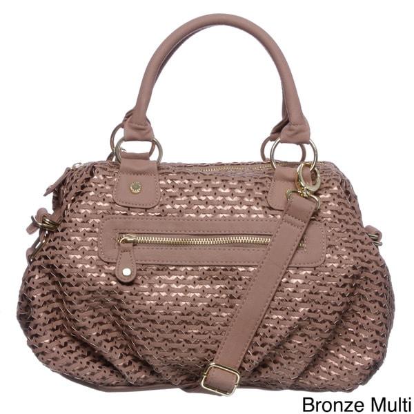 Steve Madden Woven Alert Lattice Satchel Handbag