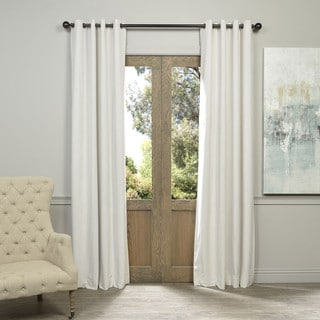 Exclusive Fabrics Off White Grommet Velvet Blackout Curtain Panel