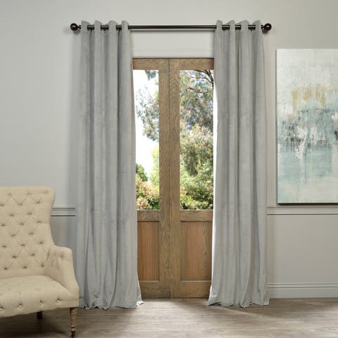 EFF Grommet Silver Grey Velvet Blackout Curtain Panel