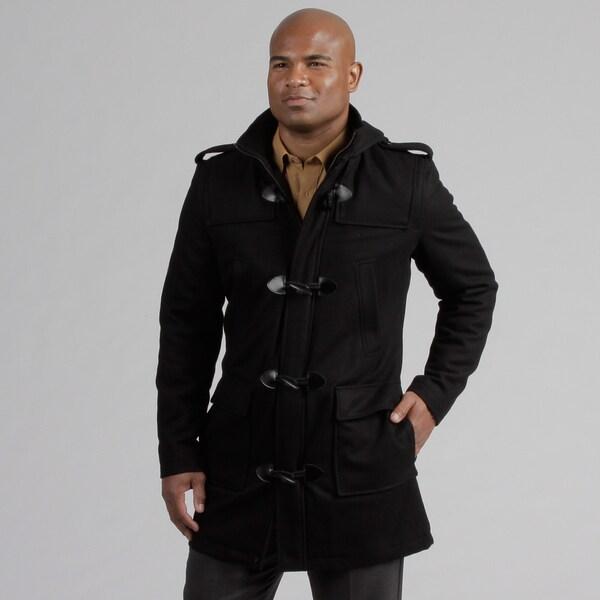 Black Rivet Men's Toggle Hooded Wool Blend Coat  FINAL SALE