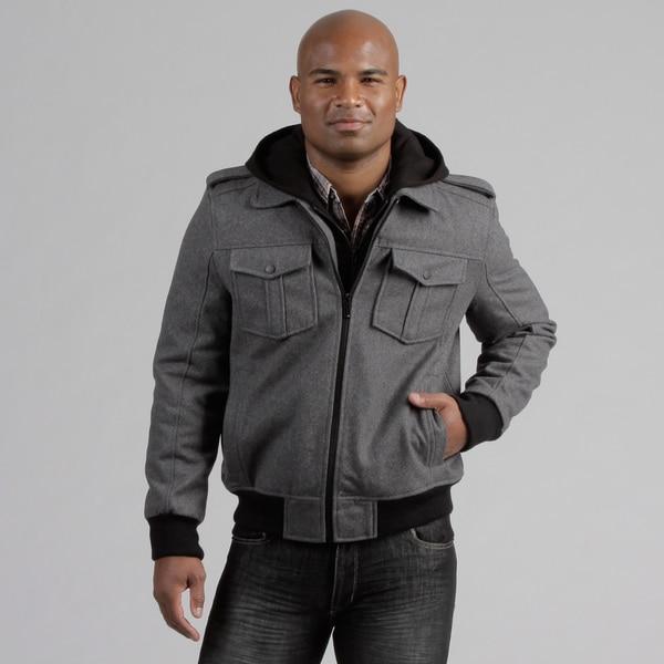 Black Rivet Men's Hooded Bomber Wool Blend Coat