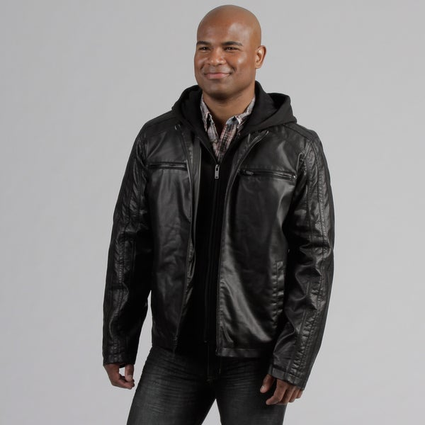 Black Rivet Men's Fleece Hood Faux Leather Jacket