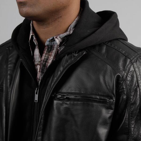 ad3d36a7f Shop Black Rivet Men's Fleece Hood Faux Leather Jacket - Free ...