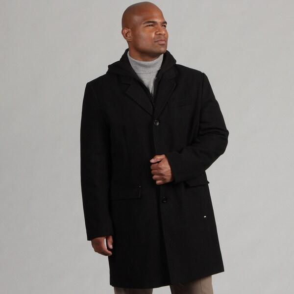 Black Rivet Men's Hooded Wool Blend Topper Coat