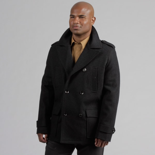 Black Rivet Men's Wool Blend Pea Coat