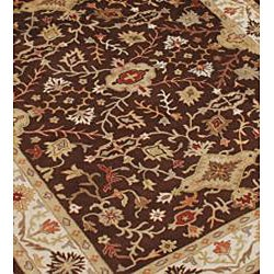 Alliyah Handmade Chocolate Brown New Zealand Blend Wool Rug - Thumbnail 1