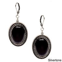 Alexa Starr Black Lucite Oval Earrings