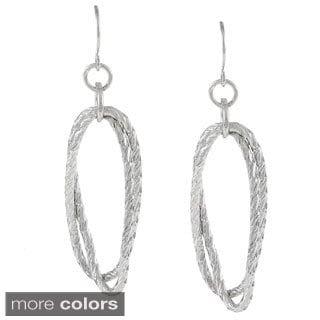 Alexa Starr Silvertone Diamond-cut Oval Earrings