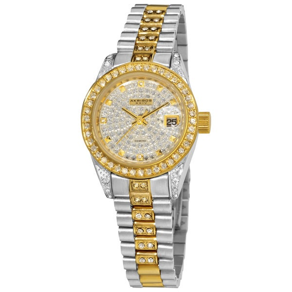 Akribos XXIV Women's Diamond Quartz Two-Tone Bracelet Round Watch