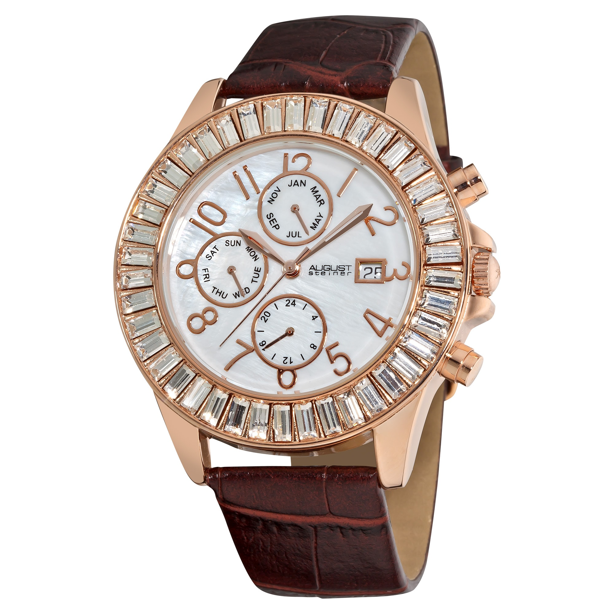 August Steiner Women's Water-resistant Swiss Quartz Baguette Bezel Rose-Tone Watch