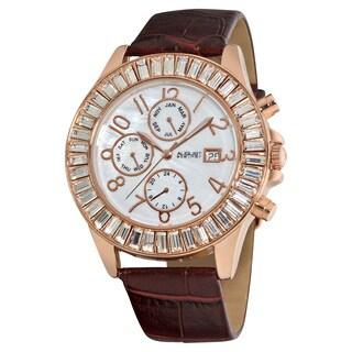 August Steiner Women's Water-resistant Swiss Quartz Baguette Bezel Rose-Tone Watch