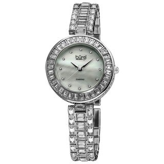 Burgi Women's Mother of Pearl Diamond Silver-Tone Bracelet Watch