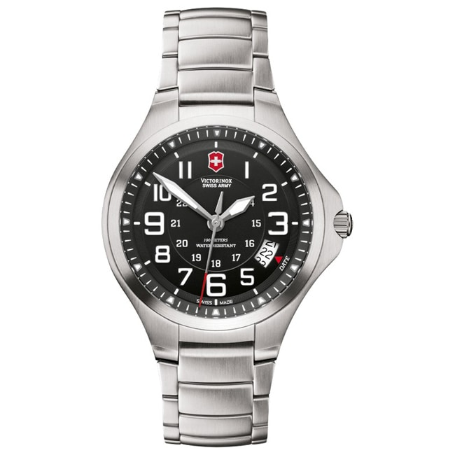 Victorinox Swiss Army Men's Base Camp Black Dial Stainless Bracelet Watch