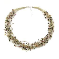 Handmade Thread Multicolor Tourmaline Multistrand Necklace (Thailand)