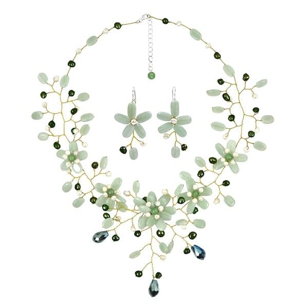 Handmade Mix Stone Floral Jewelry Set (Thailand)