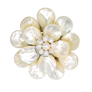 Handmade White Pure Lotus Mother of Pearl Floral Pin or Brooch (Thailand)
