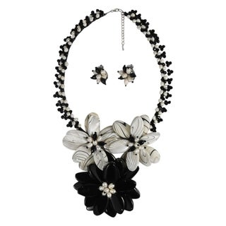 Handmade Floral Zebra Print Mother of Pearl Jewelry Set (Thailand)