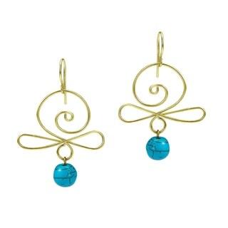 Handmade Turquoise Stone/ Brass Swirl Earrings (Thailand)