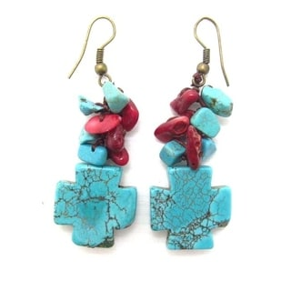 Precious Cross Turquoise and Synthetic Coral Earrings (Thailand)