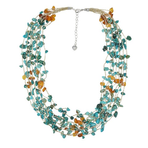 Handmade Thread Amber Turquoise Multistrand Necklace (Thailand)