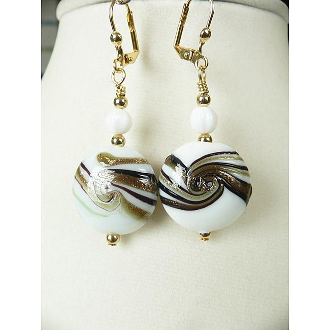 Nadine' Brass Glass Swirl Dangle Earrings