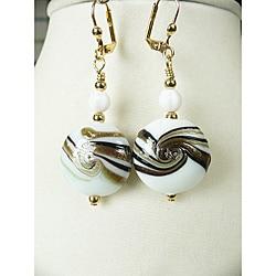 'Nadine' Brass Glass Swirl Dangle Earrings
