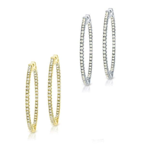 14k Gold Extra Large 4 1 4ct Tdw Diamond Hoop Earrings By Auriya